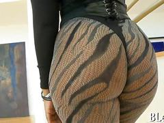 Blue haired ebony in pantyhose sucks a white guys big schlong