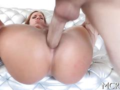 Big ass porn stars gets her booty obliterated on a couch