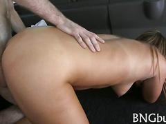 Tanned sporty slut gets fucked doggy style in bang bus