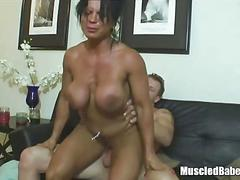 Busty black milf learns how to using toys