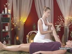 Brunette got massage and orgasm