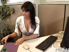 Big tits office slut gets caught masturbating on the job
