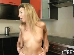 Russian blonde gets fucked by her fine boyfriend