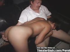 Petite latina bukkake gangbang in porno theater