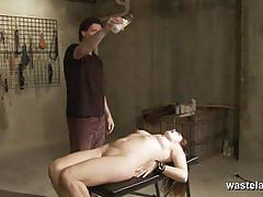Dominated brunette gets her mouth crammed with cock