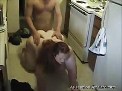 Fat slut gets a fucking in the kitchen