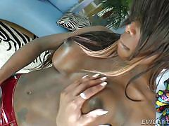black shemale, tranny big boobs, shemale big dick, masturbating, high heels, fishnet stockings, bubble butt, pole dance, i love black shemales, evil angel, bambi prescott