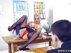 milf, big tits, blowjob, pussy licking, titjob, ball sucking, pussy fingering, at school, under the desk, big tits at school, brazzers network, michelle thorne, jordi el nino polla