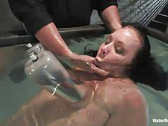 milf, bdsm, vibrator, breathplay, pump, tits torture, water bondage, in water, water bondage, kink, julie night