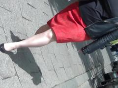 Candid city mature legs