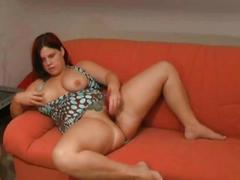 Chubby bbw ex gf shaven pussy masturbation on her couch