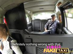 Femalefaketaxi busty driver swallows actor's cum