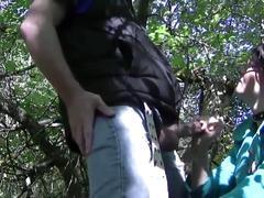 Wife handjob in the woods
