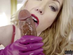 Candy may - polishes cockhead with dish gloves