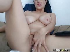 Hot milf rubs clit on webcam