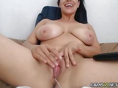Hot milf rubs clit on webcam