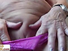 granny, mature, shaved, fingering, masturbation
