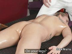 Hot blonde milf sucks balls to masseur