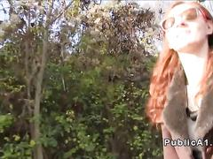 Fake agent fucks redhead outdoors