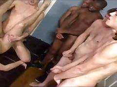 Spotty twink gang banged and moisturized with bukkake cum