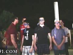 Blindfolded twinks stripped for a hazing and berated outside