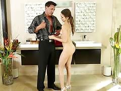 Nuru massage for horny brunette riley reid pussy pounded deep