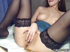 Milf in stockings tight pussy on webcam