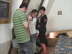 Two friends bang granma in red lingerie