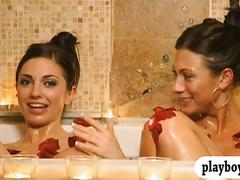 Lusty women having fun with single guys in foursome mansion