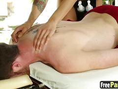 Beautiful masseuse in sexy lingerie sucks a clients dick