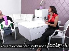 Male model fucks female agent