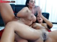 Two hot webcam latinas lick pussy