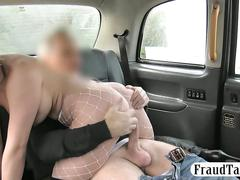 Amateur blonde passenger enjoyed rough anal sex in the cab