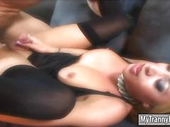 Busty shemale mia isabella in lingerie gets her ass ripped
