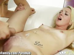 Mom masturbates to step-daughter and boyfriend fucking