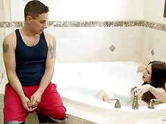 Rayveness oiled up and sticks stepsons cock deep in her pussy