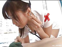 Nubile japanese nurse wanks off her man