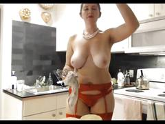 Sexy mature play in the kitchen