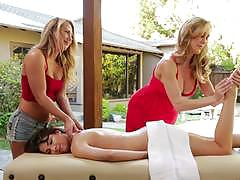 brandi love, evi fox, carter cruise, lesbian, outdoor, threesome, girls, oil, orgasm, naked, massage, pussy licking
