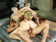 kleio valentien, rachael madori, blowjob, cumshot, suck, facial, deep, lesbians, threesome, nasty, bitch, girls, slippery, oil, hard, massage, lube, trio, punk, wanking