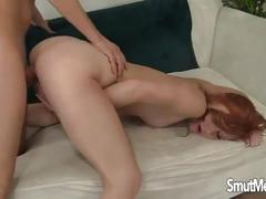 Young redhead gets fucked by her boyfriend and eats cum