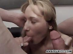 Naughty amateur sucking cock in foursome