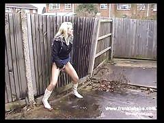 Filthy blonde peeing in public