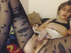 Ripped pantyhose masturbation - fingers/dildo - real orgsam
