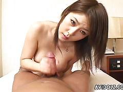 Japanese brunette devours this hard dick
