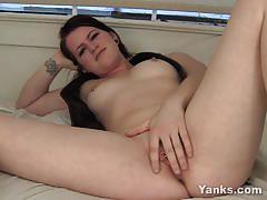 Vivacious babe dildo fucks her warm pussy