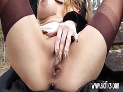 Stocking clad wife fisted outdoor