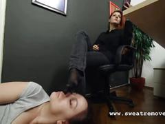 Goddess victoria's office foot worship