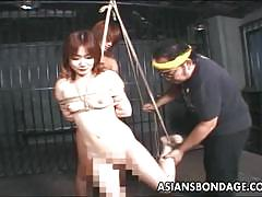 Bound asian fucked in bdsm