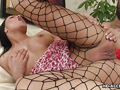 Fishnets go hand in hand with anal